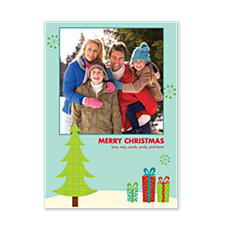 Fabric Tree Christmas Photo Cards