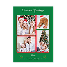 Holly Branch Christmas Photo Cards