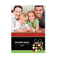 Polka Dot Present Holiday Photo Cards