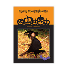 Pumpkin Faces Halloween Photo Cards