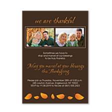 Autumn Leaves Thanksgiving Photo Invitation Cards