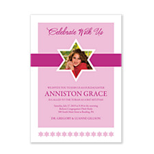 Celebrate With Our Daughter Photo Bat Mitzvah Invitations
