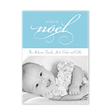 Joyeux Noel in Blue Christmas Photo Cards