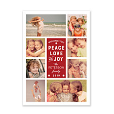 Peace Love Joy Collage Photo Christmas Cards