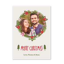Pine Wreath Photo Christmas Cards