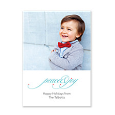Scrolling Peace & Joy Holiday Photo Cards