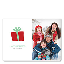 Gift Box in Red Christmas Photo Cards