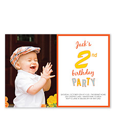 2nd Birthday Party Photo Kid Invitations