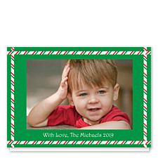 Green Candy Cane Border Holiday Photo Cards
