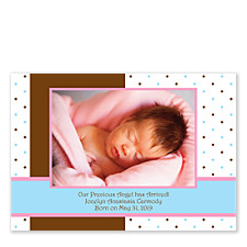 Polka Dots with Pink Photo Birth Announcement Cards