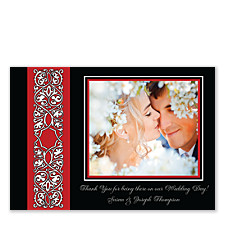 Sophisticated Stripe Wedding Photo Thank You Cards
