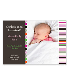 Casual Pink Birth Announcement Photo Cards