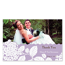 Sheer Lilac Wedding Photo Thank You Cards