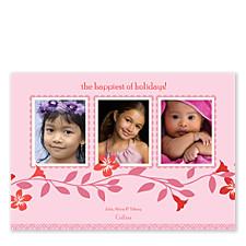 Blush Three Christmas Photo Cards