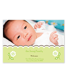 Spring Bud Birth Announcement Photo Cards
