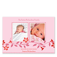 Blush Two Baby Birth Announcement Photo Cards