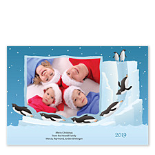 Toboggan Penguins Christmas Photo Cards