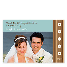 Countryside Blue Wedding Photo Thank You Cards