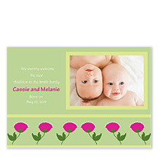 Springtime Photo Birth Announcement Cards