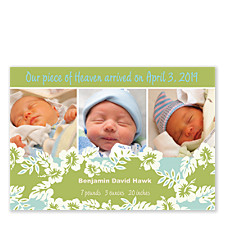 Tropical Photo Birth Announcement Cards