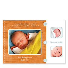 Scrapbook in Orange Birth Announcement Photo Cards