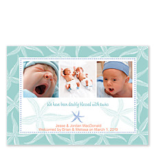 Starfish Teal Photo Birth Announcement Cards