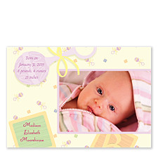Light of My Life Baby Girl Birth Announcement Photo Cards