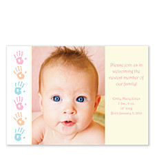 Hand Prints Photo Birth Announcement Cards