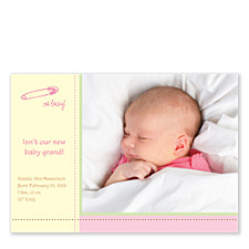 Baby Grand Pink Birth Announcement Photo Cards