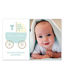 Baby Carriage Blue Photo Birth Announcement Cards