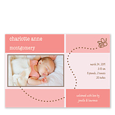 Buzzing Pink Baby Birth Announcement Cards