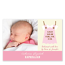 Dress Me Pink Photo Birth Announcement Cards