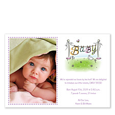 Clothes Line Pink Photo Birth Announcement Cards