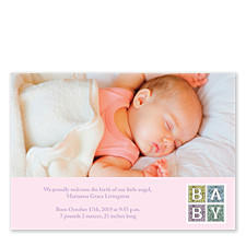 Renaissance Pink Photo Birth Announcement Cards