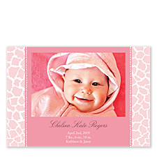 Animal Print Pink Photo Birth Announcement Cards