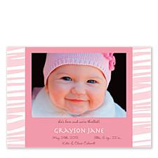 Zebra Pink Photo Birth Announcement Cards