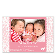 Cheetah Pink Photo Birth Announcement Cards