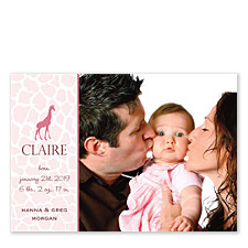 Giraffe Pink Birth Announcement Cards