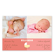 Heavenly Pink Baby Birth Announcement Photo Cards