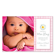 Gingham Flower Pink Photo Birth Announcement Cards