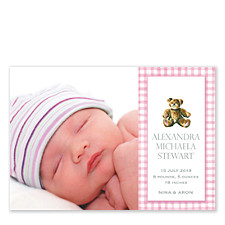 Gingham Teddy Pink Photo Birth Announcement Cards