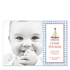 Gingham Sail Blue Photo Birth Announcement Cards