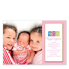 Little Fishy Pink Photo Birth Announcement Cards