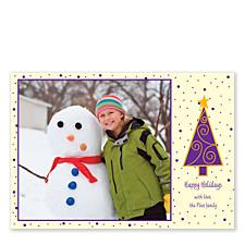 Purple Tree Christmas Photo Cards