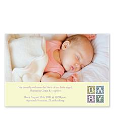 Renaissance Neutral Birth Announcement Cards