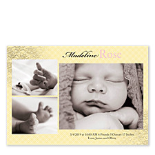 Pink & Yellow Lace Birth Announcement Cards