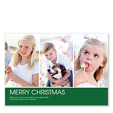 Bottom Banner Green Christmas Photo Cards