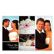 Three Photo Floating Left Rectangle Photo Wedding Thank You Cards