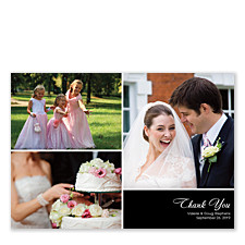 Three Photo Floating Right Rectangle Photo Wedding Thank You Cards