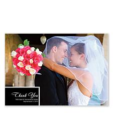 One Photo Floating Rectangle Wedding Thank You Photo Cards